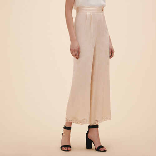 Wide-leg satin jacquard trousers - Pants & Jeans - MAJE