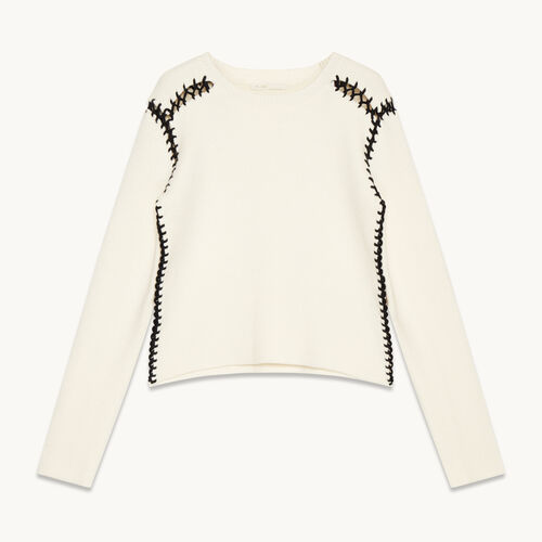 Wool blend jumper with openwork details - Sweaters - MAJE