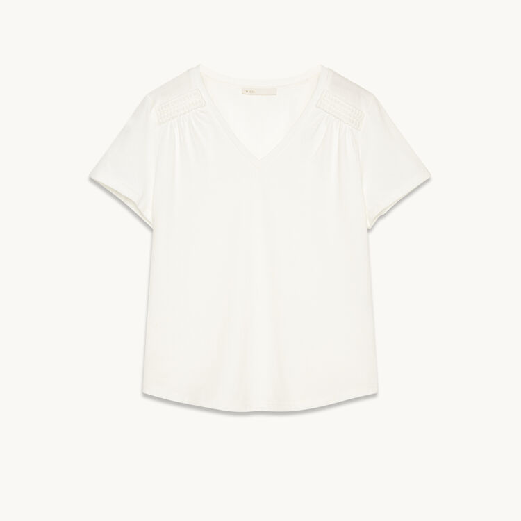 Detailed cotton T-shirt - Tops & Shirts - MAJE