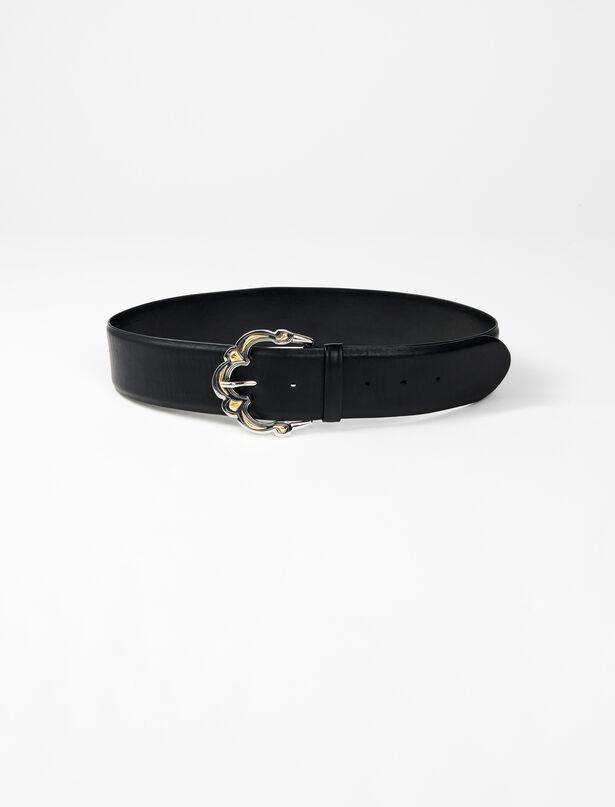 마쥬 벨트 MAJE 220AMBRE Wide leather belt with Berber buckle,Black