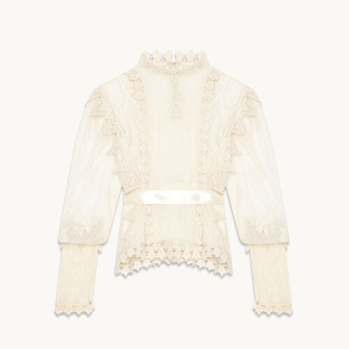 Belted lace top - Tops & Shirts - MAJE
