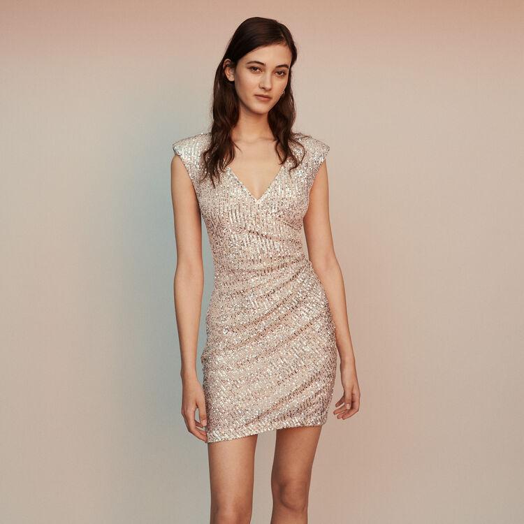마쥬 RIVIERA 민소매 드레이프 원피스 실버 MAJE RIVIERA Sleeveless drape dress with sequins,Silver