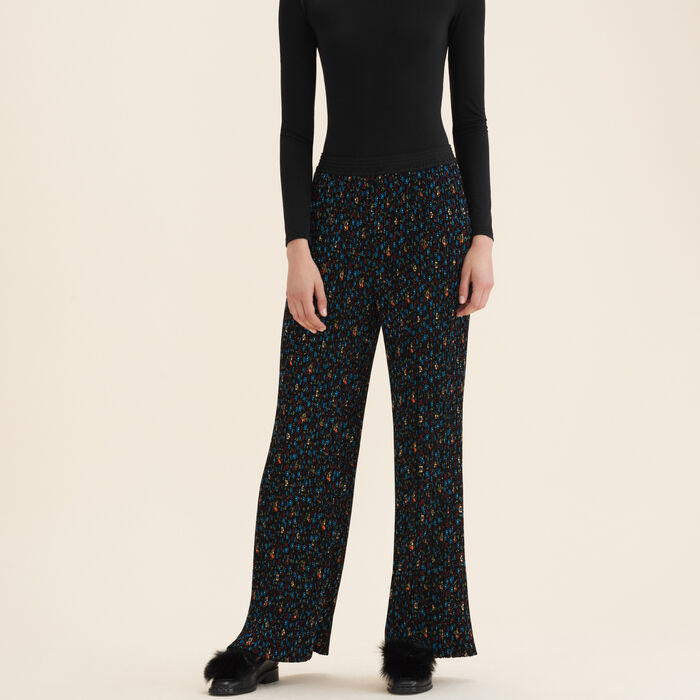 Pleated trousers with floral print -  - MAJE
