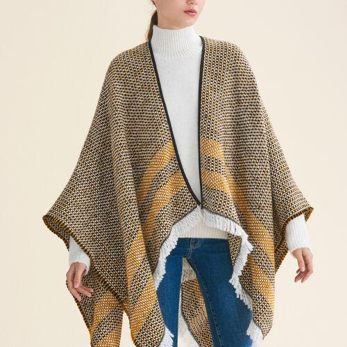 Decorative two-tone knit poncho - Scarves - MAJE