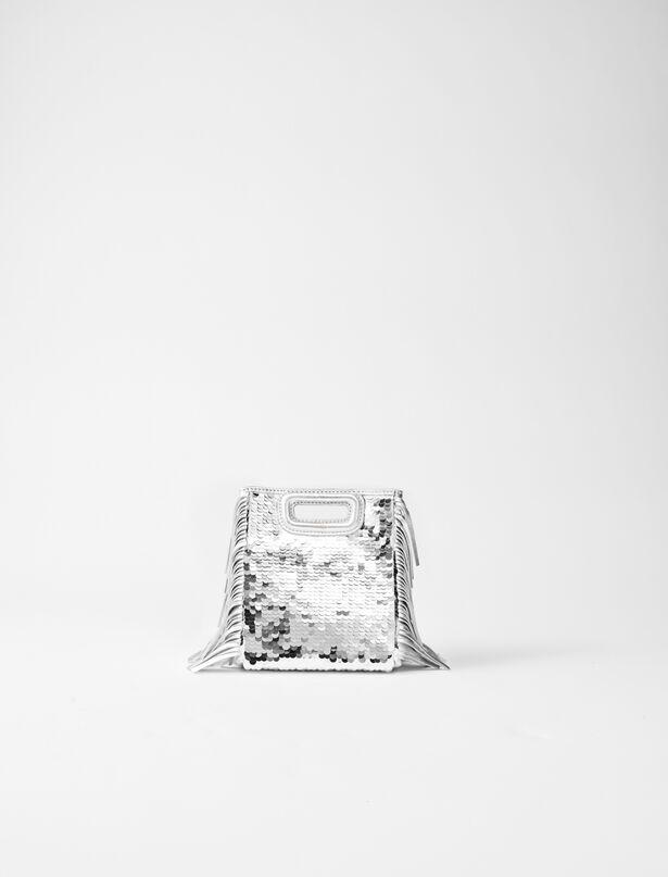 마쥬 M백 미니 MAJE 220MMINISEQUINSROUND Sequinned leather mini M bag with chain,Silver
