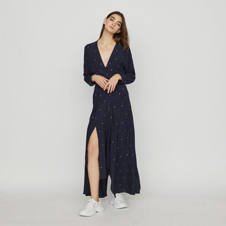마쥬 ROLENE 앞트임 롱 원피스 MAJE Scarf dress with studs,Navy