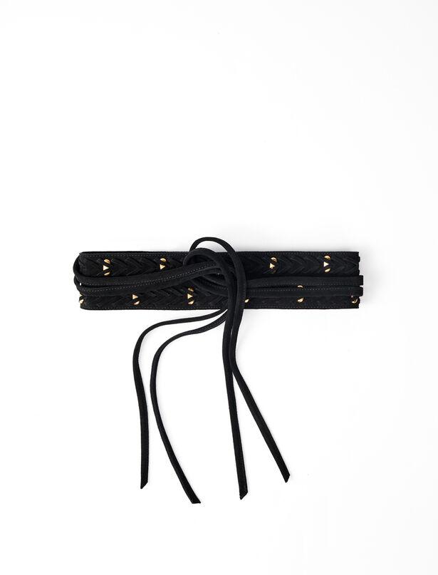 마쥬 벨트 MAJE 220ALEGRIA Horsebit-style tie belt,Black