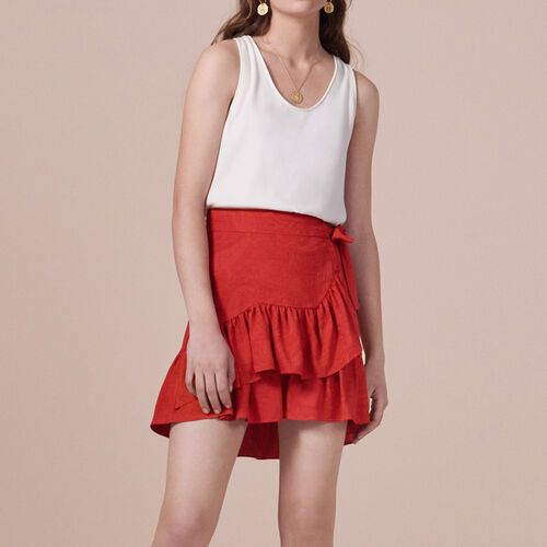 Wraparound skirt with frills - Skirts & Shorts - MAJE