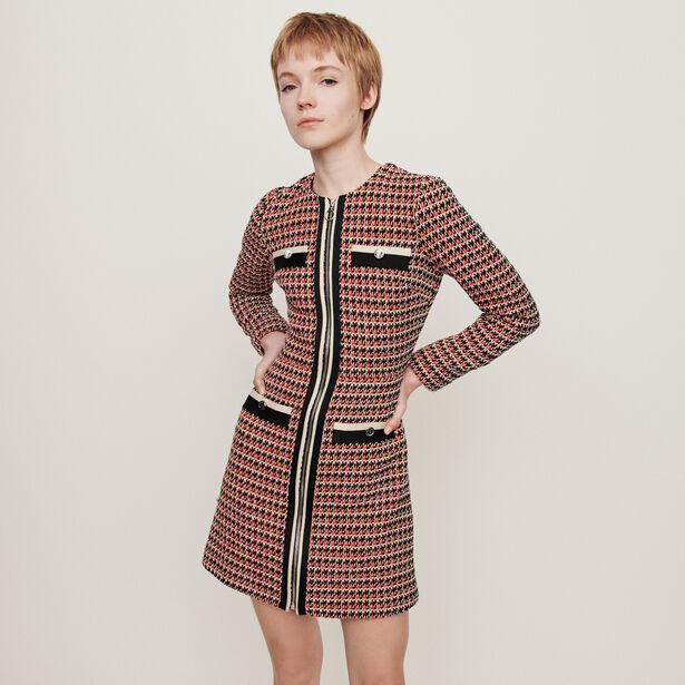 마쥬 트위드 원피스 MAJE 119ROMANE Tweed-style contrast dress, Red