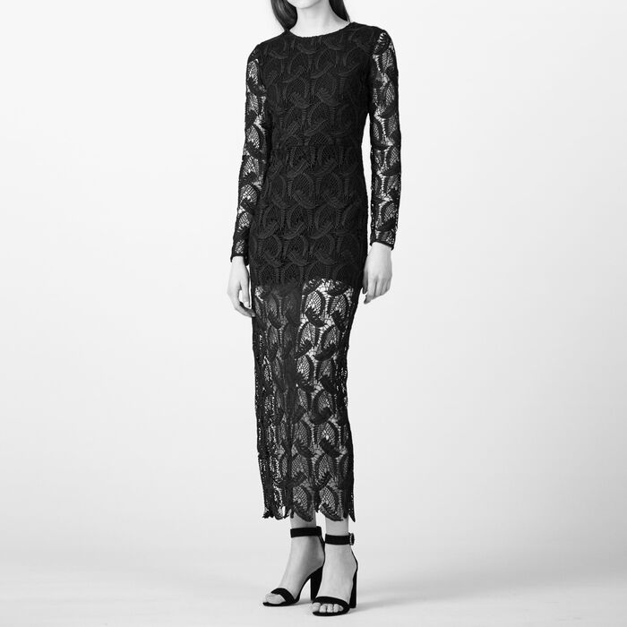 Long patterned lace dress - The Little Black Dresses - MAJE
