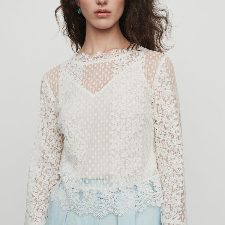 마쥬 LEVANTA 레이스 블라우스 MAJE LEVANTA Guipure lace top,WHITE