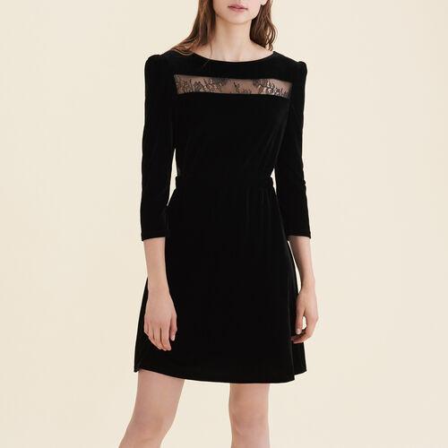 Velvet and lace dress - Dresses - MAJE