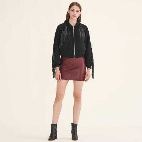 Bomber style jacket with fringing - Majexclusive - MAJE