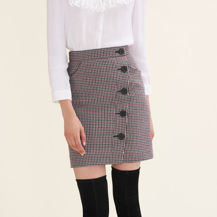 Houndstooth check short skirt -  - MAJE