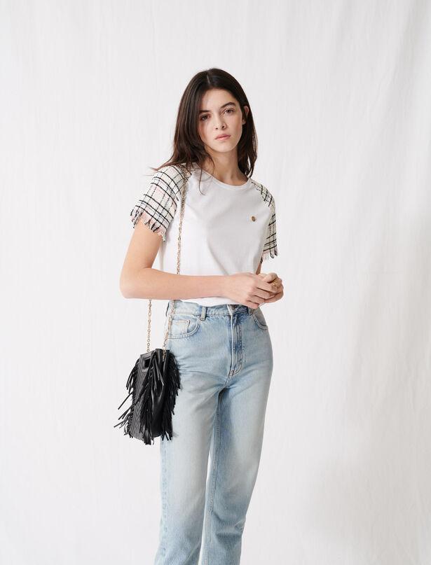 마쥬 트위드 티셔츠 MAJE 220TWEED Tweed-style short-sleeved T-shirt,Ecru