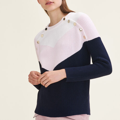 Tricolour jumper with press studs - Sweaters - MAJE