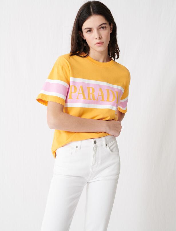 """마쥬 티셔츠 MAJE 220TARA T-shirt with """"Paradise"""" screen print,Yellow"""