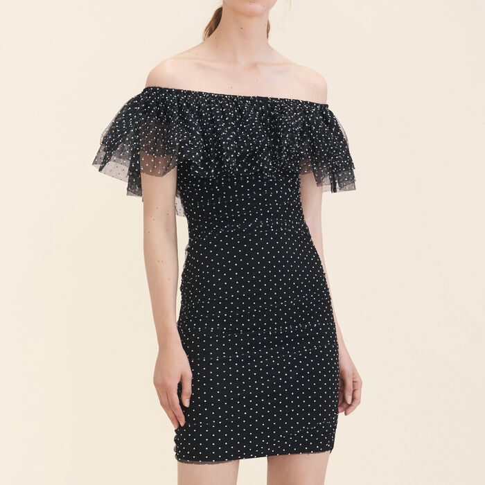Polka-dot draped dress -  - MAJE