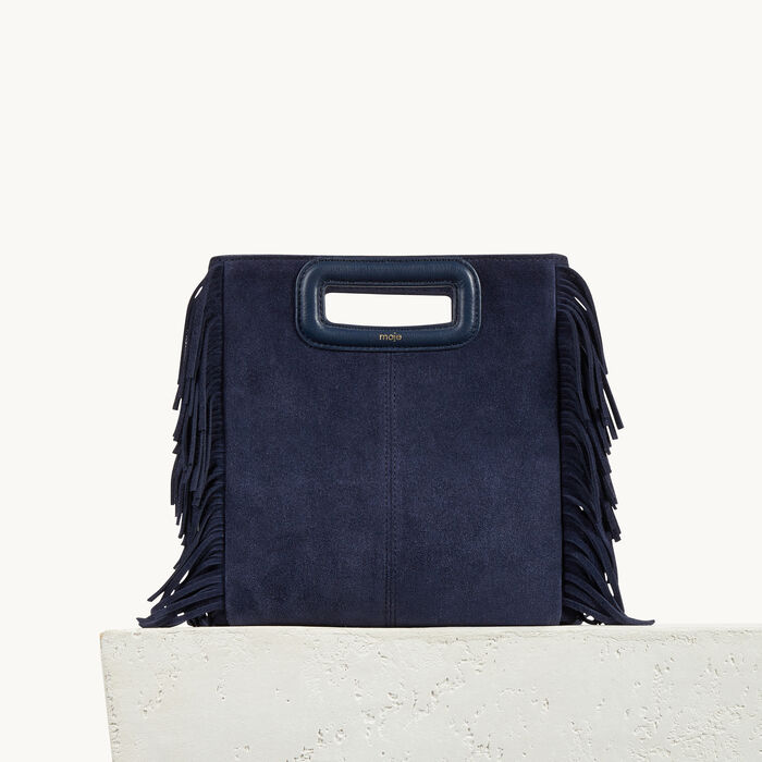 Suede leather bag with fringing - Velvet Edge - MAJE