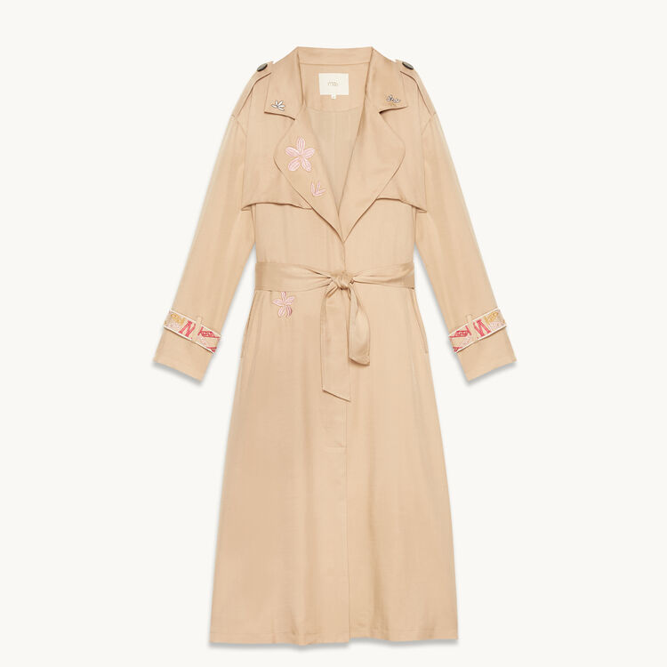 Trench coat with embroidery -  - MAJE