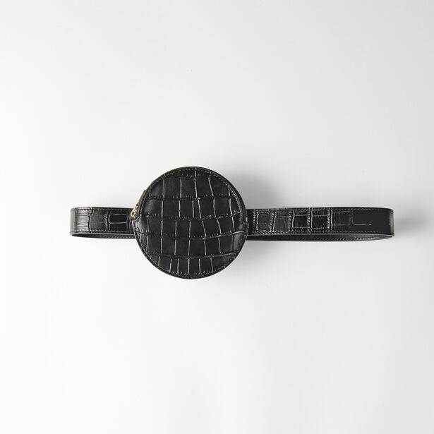 마쥬 벨트백 MAJE Embossed-leather belt bag,Black
