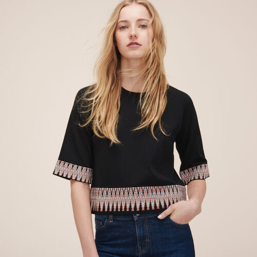 Jumper with jacquard detail - Sweaters - MAJE