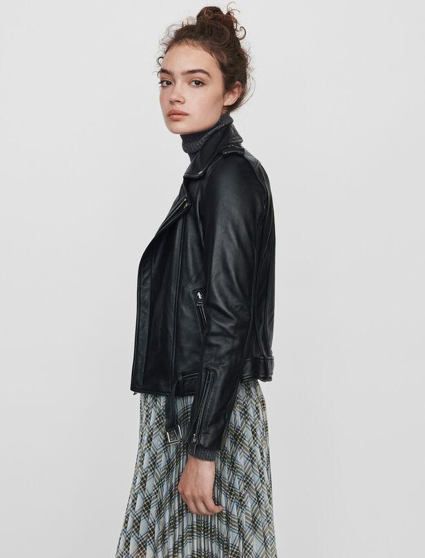 마쥬 가죽 바이커 자켓 MAJE Leather biker jacket and belt,Black