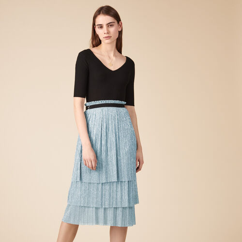 Pleated-effect lurex midi skirt - Skirts & Shorts - MAJE