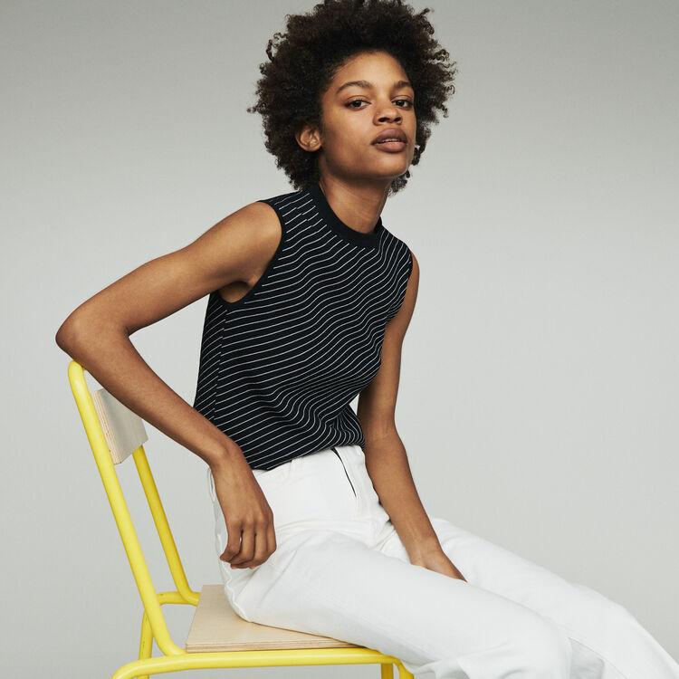 마쥬 MELIA 민소매 스트라이프 스웨터 MAJE MELIA Sleeveless striped sweater,Stripe