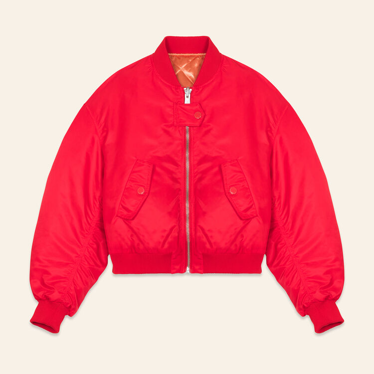 Cropped reversible bomber jacket - Coats & Jackets - MAJE