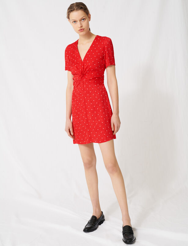 마쥬 도트 패턴 미니 원피스 MAJE 220RIPIA Polka dot jacquard dress,Red