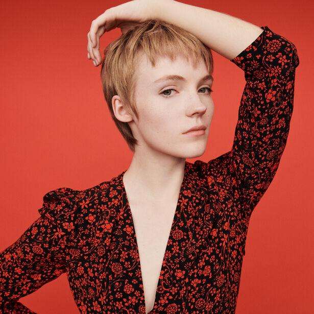 마쥬 원피스 MAJE 119RAPITA Short crepe dress,Red