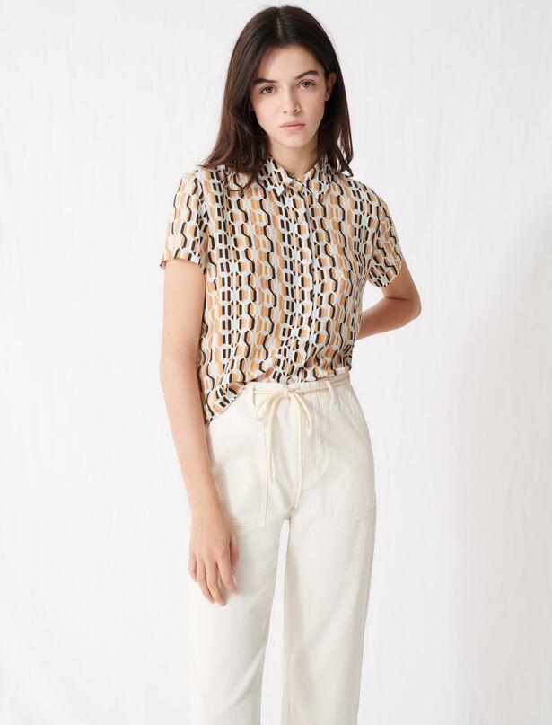 마쥬 셔츠 MAJE 220CORA Printed short-sleeved shirt,Blue Sky