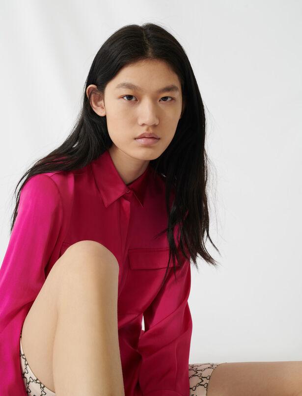 마쥬 실크 새틴 셔츠 MAJE 220CECI Fuchsia silk satin shirt,Pink