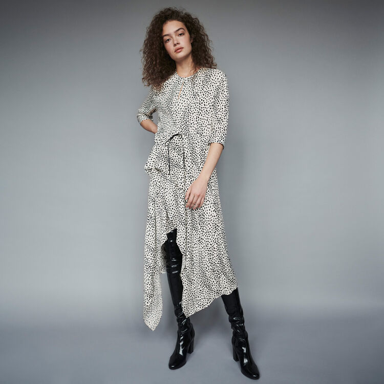 마쥬 MAJE 119ROSA Jacquard-printed asymmetrical dress,White