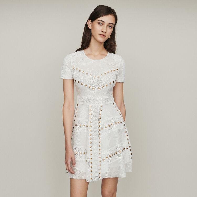 마쥬 RISTA 스케이터 미니 원피스 화이트 MAJE RISTA Short skater dress with studs,WHITE