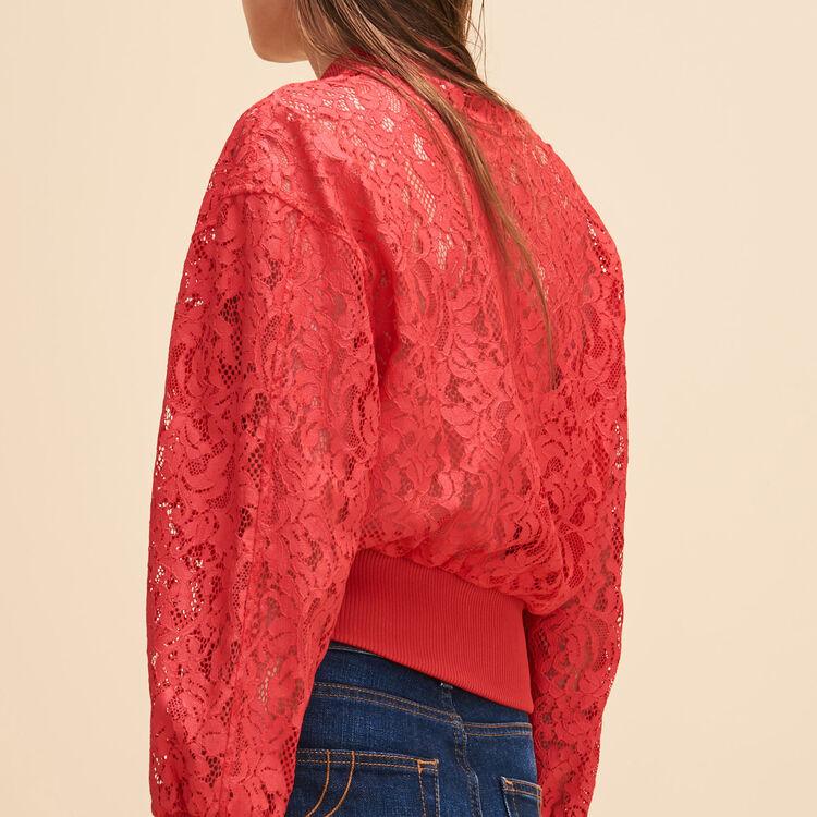 Short lace bomber jacket - Coats & Jackets - MAJE