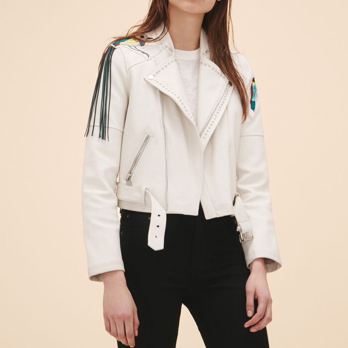 Leather jacket with badges and studs -  - MAJE