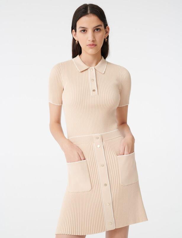 마쥬 클로즈 핏 니트 스커트 - 베이지 ('편의점 샛별이' 김유정 착용) MAJE 220JARINA Close-fitting knit skirt