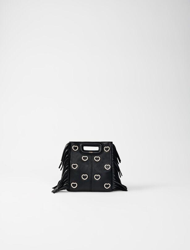 마쥬 M백 미니 MAJE 220MMINIHEARTLEATHER Leather mini M bag, diamante and chain