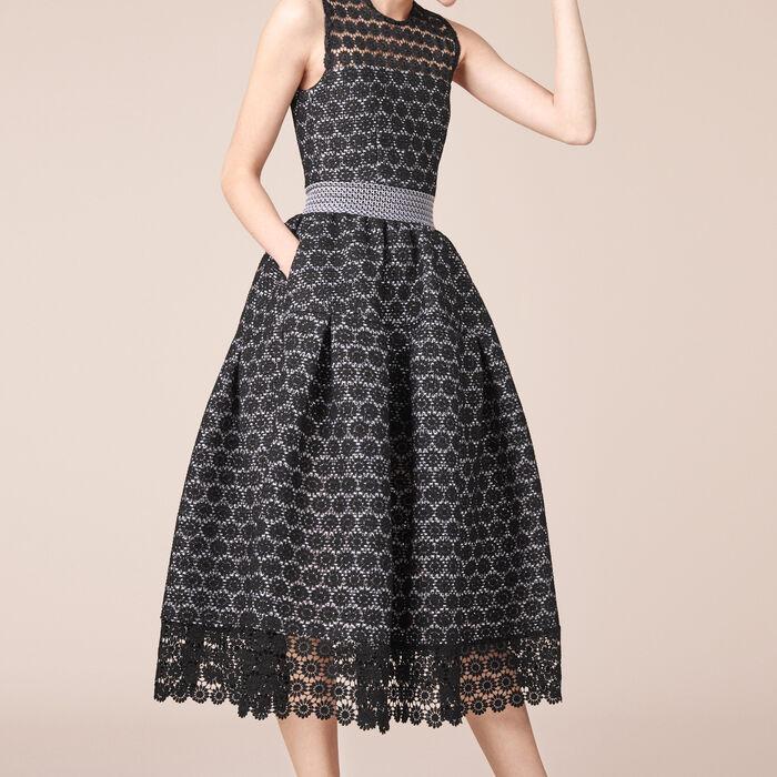 Long bonded lace dress - Dresses - MAJE