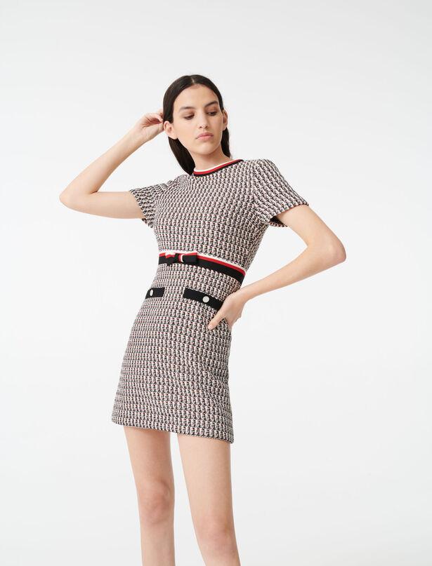 마쥬 트위드 원피스 MAJE 220RIVI Lurex tweed-style dress with bands,Multi-Coloured