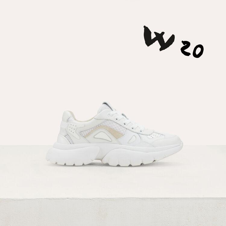 마쥬 W20 어반 스니커즈 화이트 MAJE FASTER W20 Urban leather sneakers,White