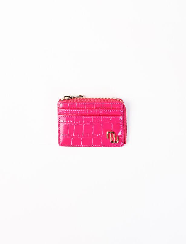 마쥬 카드지갑 MAJE 220SUITU Fuchsia embossed leather card holder