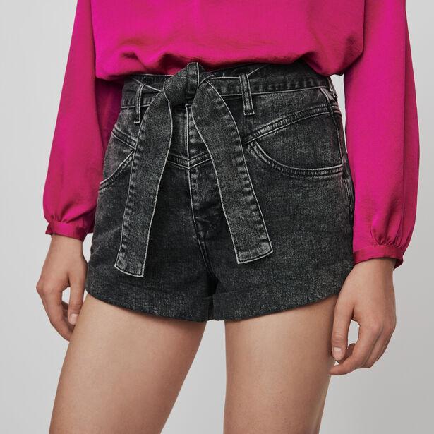 마쥬 벨티드 반바지 MAJE 119ILLOU Belted faded shorts,Anthracite