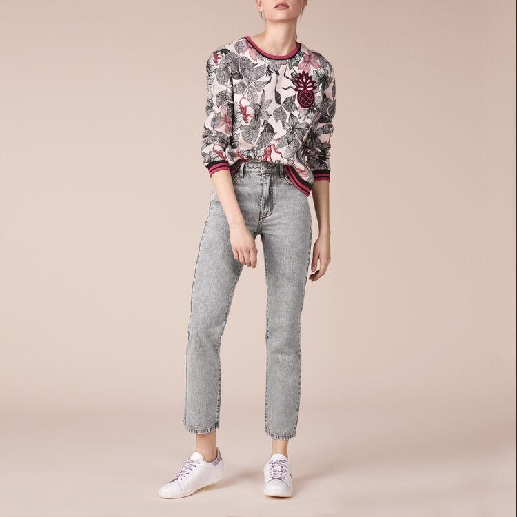 Printed cotton embroidered sweatshirt - Tops & Shirts - MAJE
