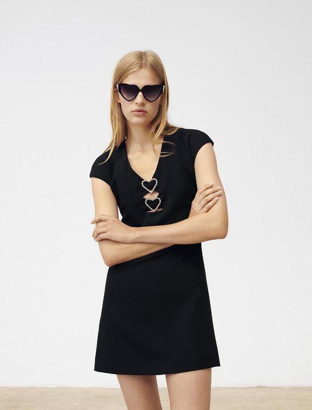 마쥬 MAJE 220RICOEUR Dress with diamante and hearts,Black