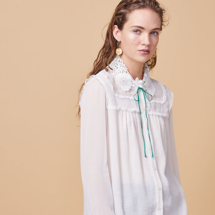 Floaty shirt with embroidered collar -  - MAJE