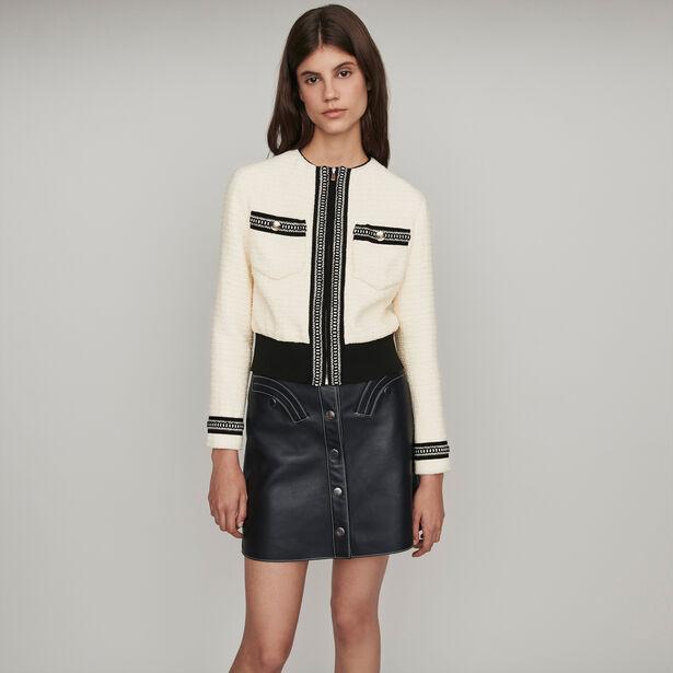 마쥬 자켓 MAJE 119BOPPY Zipped tweed-style contrast jacket,Ecru