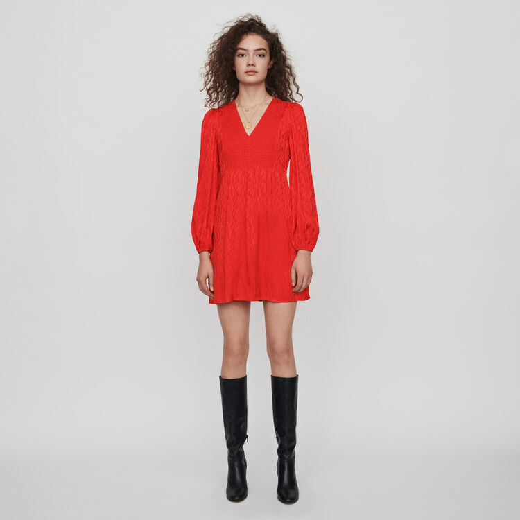 마쥬 원피스 MAJE 119RIMINE Jacquard satin smock dress,Red